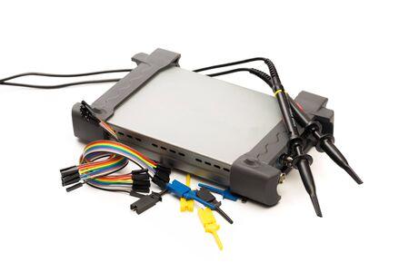 Modern digital signal oscilloscope isolated on white background