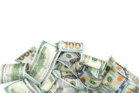Haufen von hundert Dollarnoten isoliert auf weißem Hintergrund mit Platz für Ihren Text - Image
