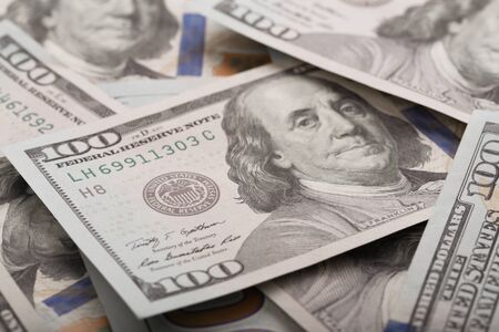 Close up heap of one hundred dollars, selective focus. Dollars, the us money background Archivio Fotografico