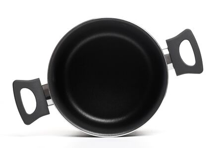 Open stainless steel cooking pot on  white background -Image