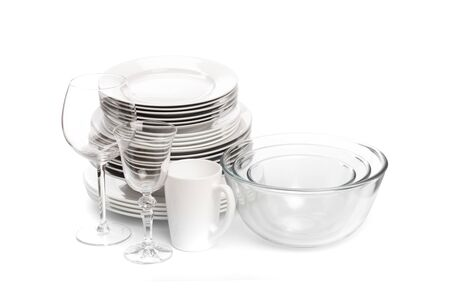 Set of white dishes . table wear - Image