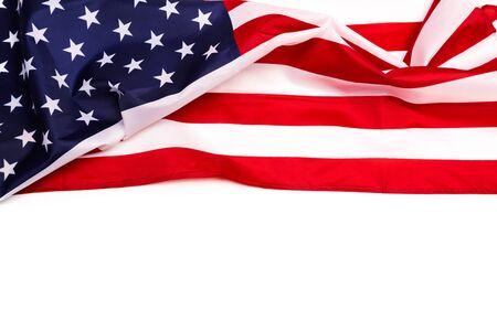 Bandera americana aislado sobre fondo blanco - Imagen