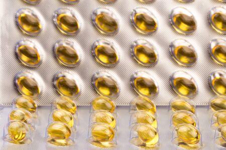 Blíster de cápsulas de aceite de pescado Vista cercana - Imagen