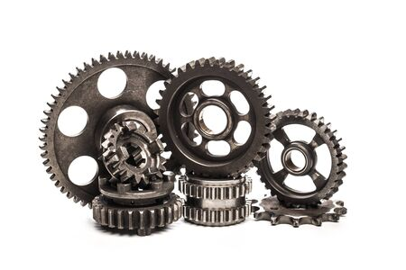 Various car parts and accessories, isolated on white background gears