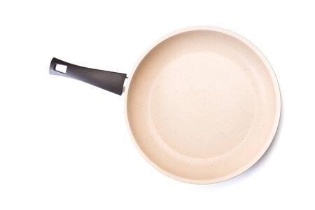 Revestimiento de cerámica de sartén en fondo blanco - Imagen