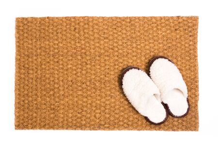 Cleaning foot carpet with shoes made of sheep wool  - Image