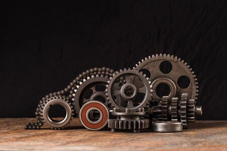 Various car parts and accessories, on black  background