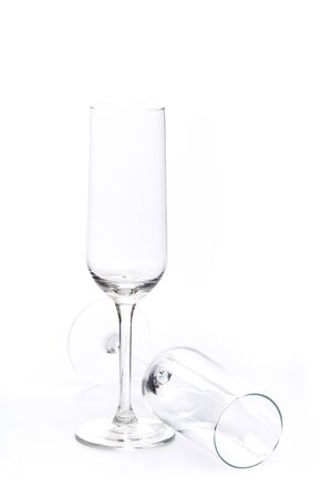 empty champagne glasses on a white background - Image
