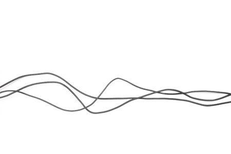 Presa del cavo di alimentazione nera isolata su sfondo bianco - Immagine