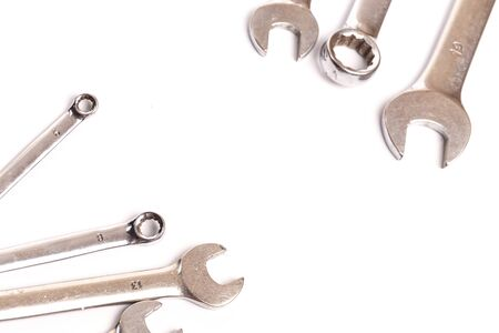 set of wrench tools isolated on white background - Image