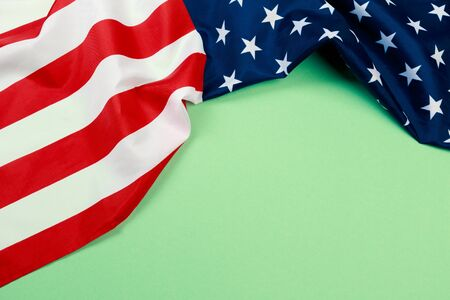 American flag on green  background  top view - Image