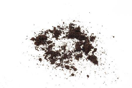 pile of soil isolated on white background - Image Stock Photo