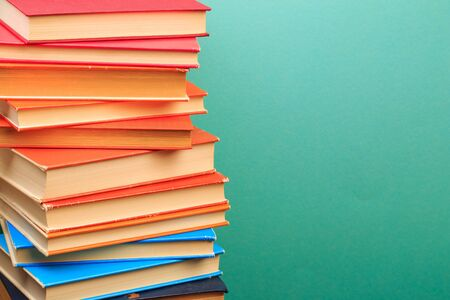 pile of old books, panorma, good copy space on blue background - Image