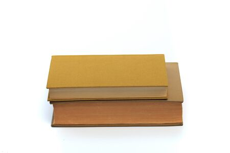 vintage old hardcover books on white background - Image