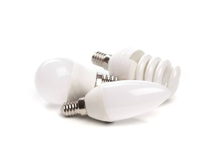 set of LED light bulb New technology isolated on white background, Energy saving electric lamp is good for environment.