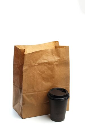 Paper bag on white background with coffee cup  Mockup for design - Image