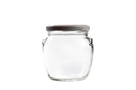 empty glass jar for conservation, isolated on white background