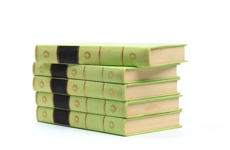 stack of Old books isolated on white - Image