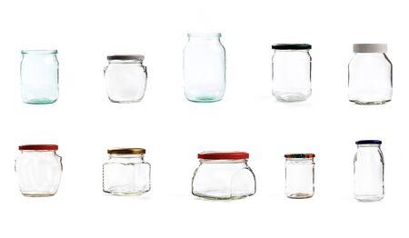 Conjunto de frasco de vidrio vacío para conservación, aislado sobre fondo blanco - Imagen