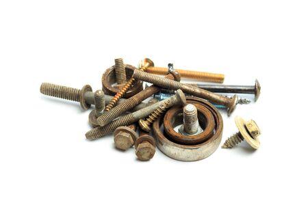 Screw  nuts, rivets isolated on white. - Image Reklamní fotografie