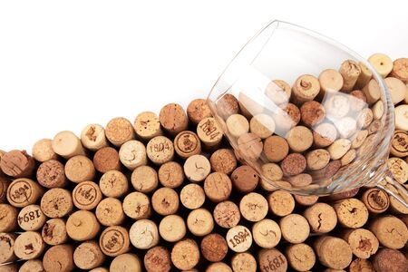 Butt ends of wine corks with white space for your own text Reklamní fotografie
