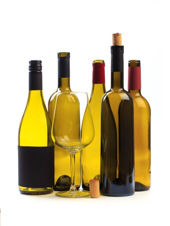 set of empty bottles of wine isolated on a white background