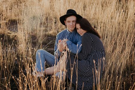 Young happy  couple in love  outdoor - Image