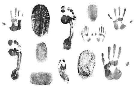 set of fingerprints pattern isolated on white Stock fotó
