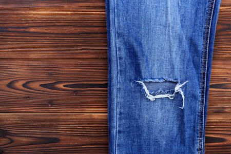 Blue Jeans Laid Out Floor Jeans High Fit Laminate — Stock
