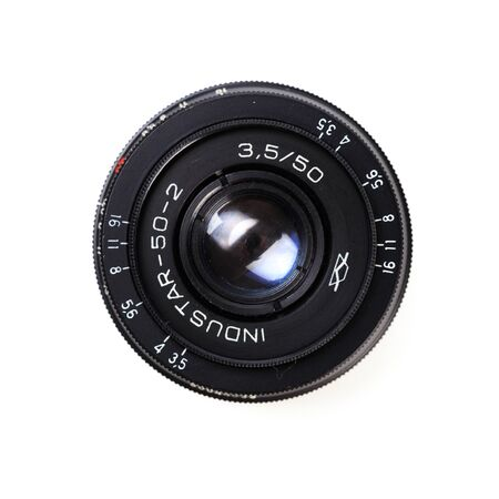 Vintage camera lens  isolated on white background