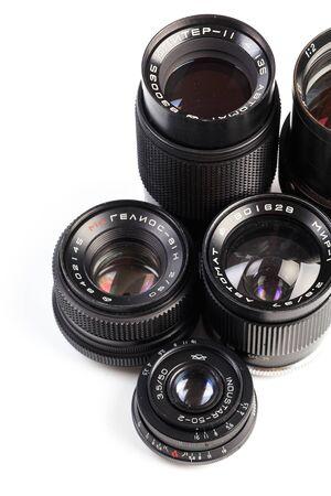 set of Vintage camera lens  isolated on white background