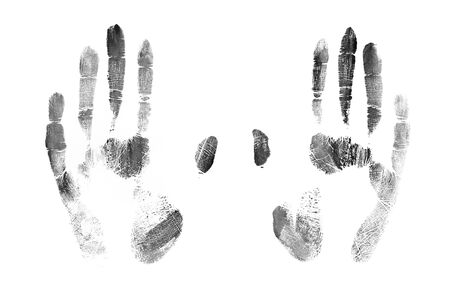 black hand print on a white background - Image