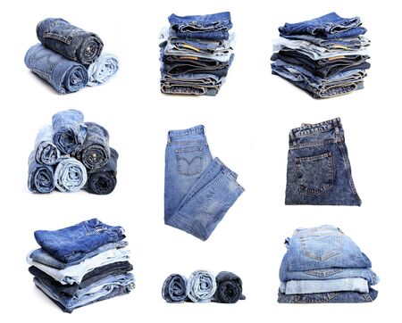 set of blue jeans isolated on white background - Image