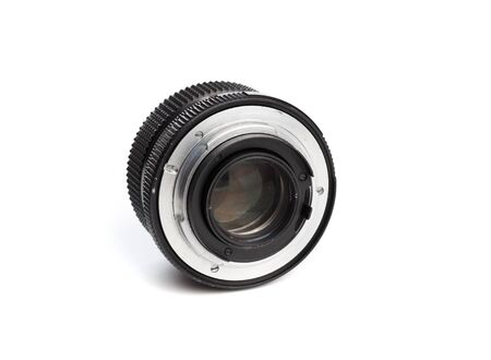 Vintage camera lens  isolated on white background