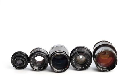 set of Vintage camera lens  isolated on white background  版權商用圖片
