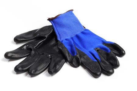 Blue leather work gloves isolated on white background