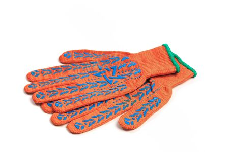 Orange work gloves isolated on white background