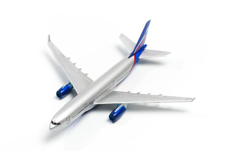 Model plane, airplane mock up with clipping path - Top View Imagens
