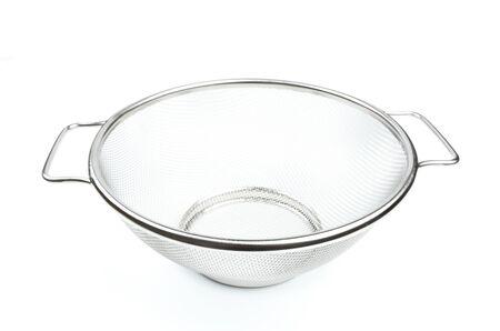 Strainer, stainless steel - kitchen utensil, isolated on white background. Standard-Bild