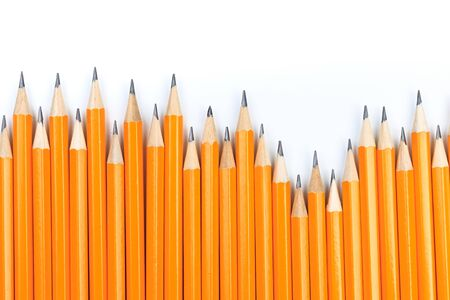 Yellow pencils on a white background Stock Photo