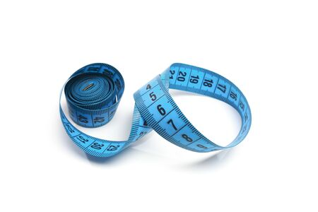 Blue measuring tape isolated on white background