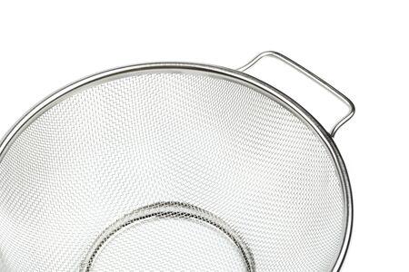 Strainer, stainless steel - kitchen utensil, isolated on white background.
