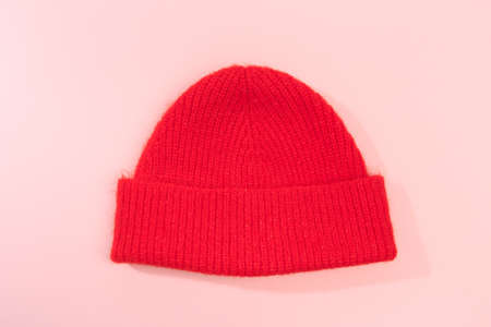 beanie hat on pink background