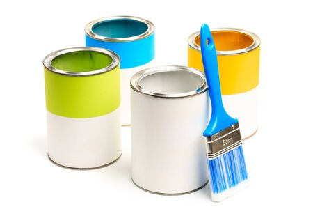 Cans with color paint with brushes isolated on white background - Image