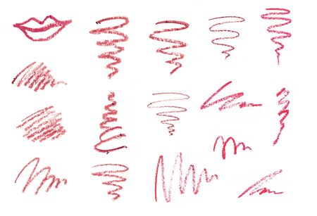 Set of lipstick Liner Pencil Squiggles isolated on white background Imagens