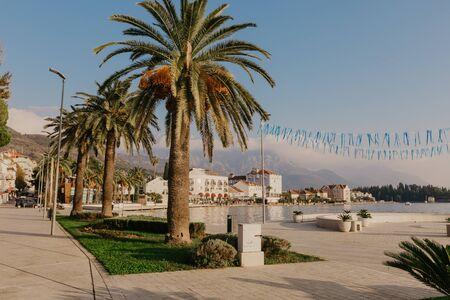 9 Nov 2018 Beautiful sea promenade in Tivat, Montenegro. Kotor bay, Adriatic sea. Famous travel destination.