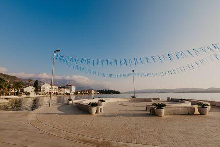 9 Nov 2018 Beautiful sea promenade in Tivat, Montenegro. Kotor bay, Adriatic sea. Famous travel destination. 版權商用圖片
