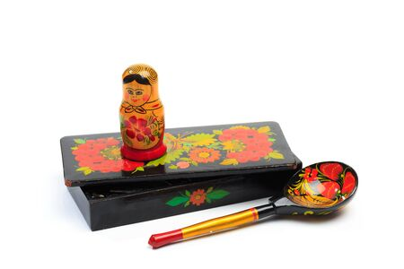 hohloma products -casket, nesting doll and spoon
