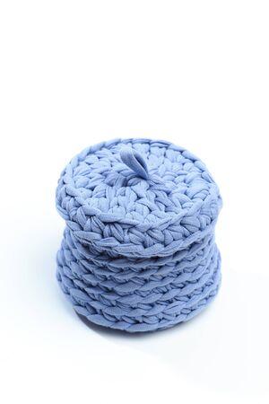 blue woven fabric basket isolated on white background - Image