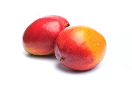 Ripe mango isolated on white. Mango Clipping Path